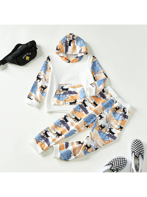 【18M-7Y】Boys Contrast Stitching Animal Print Hooded Long-sleeved Two-piece Suit