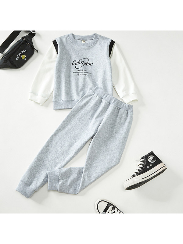 【18M-7Y】Boys Contrast Color Stitching Letter Printing Two-piece Suit