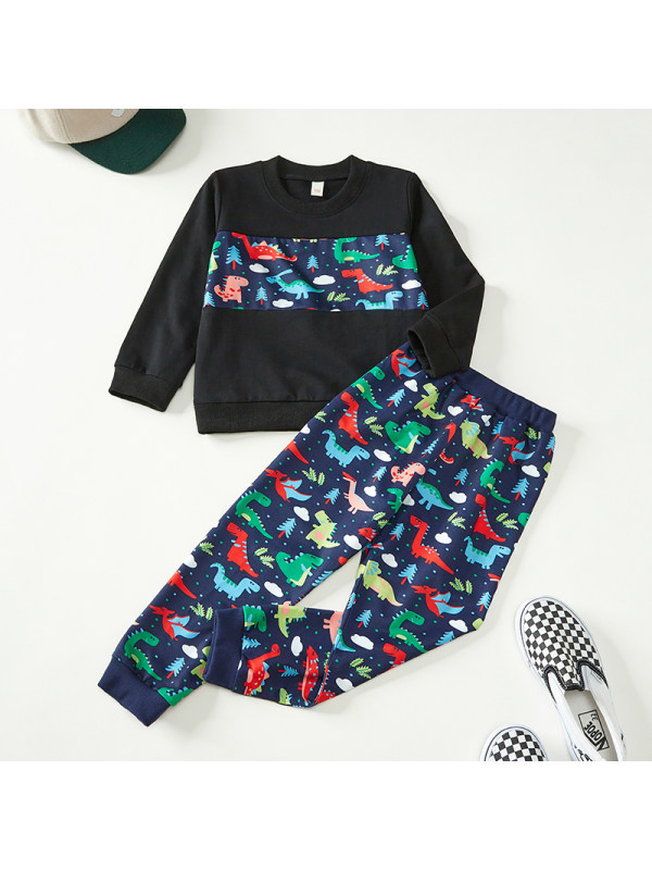【18M-7Y】Boys Contrast Color Stitching Long Sleeve Two-piece Suit