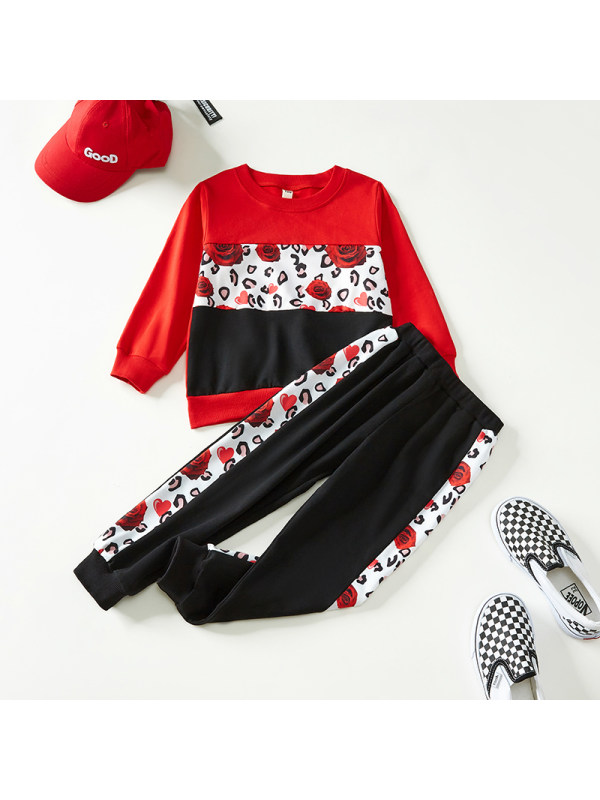 【18M-7Y】Boys Contrast Color Print Long-sleeved Two-piece Suit