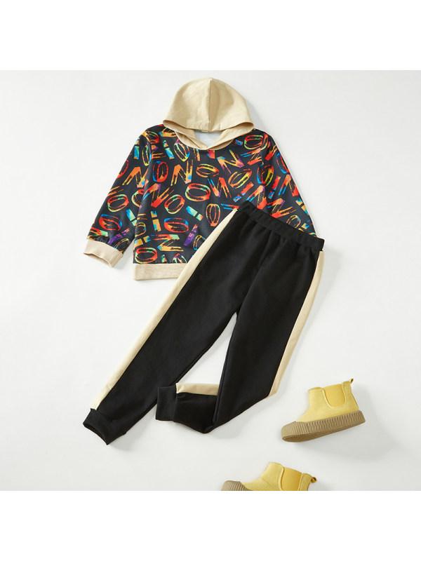 【18M-7Y】Boys Letter Print Hooded Sweatshirt Long Sleeve Two-Piece Set
