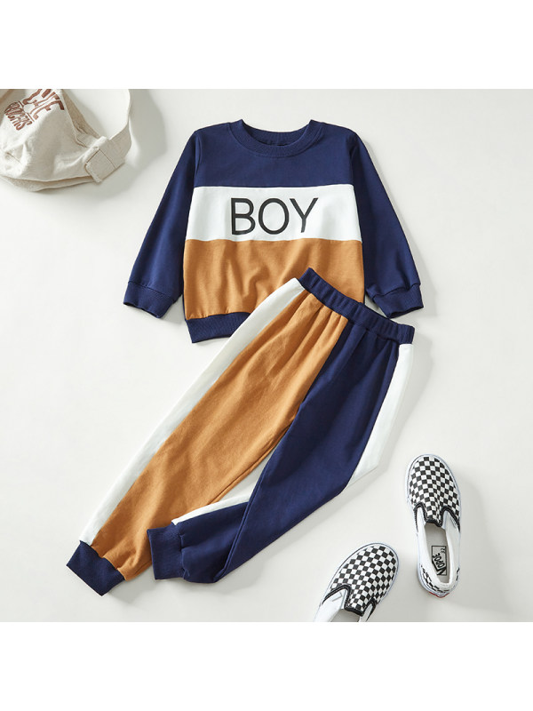 【18M-7Y】Boys Contrast Color Stitching Letter Print Long Sleeve Two-piece Suit