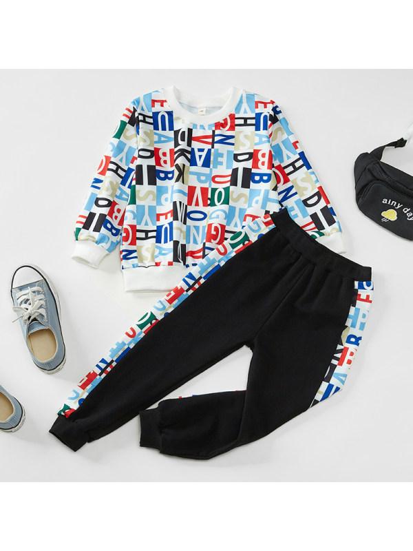 【18M-7Y】Boys Letter Print Hit Color Two-piece Suit