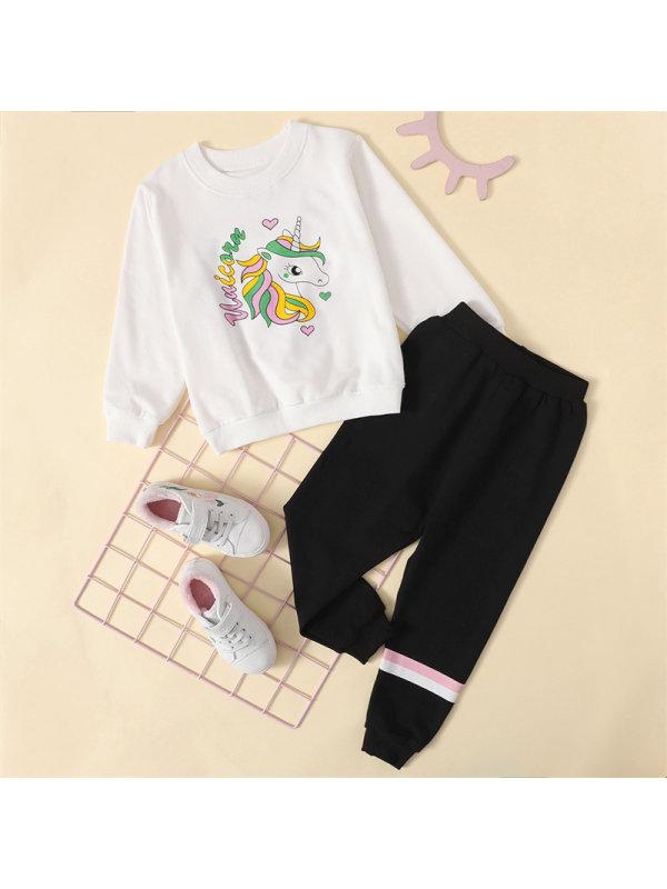【18M-7Y】Girls Cartoon Unicorn Print Long-sleeved Trousers Sweatershirt Suit