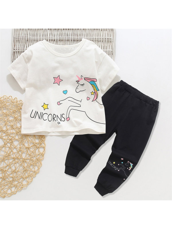 【18M-7Y】Girls Cartoon Unicorn Print Short Sleeve Suit