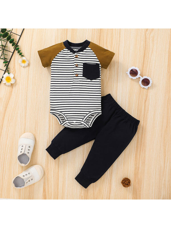 【3M-24M】Boys Casual Striped Short-sleeved Romper Trousers Suit