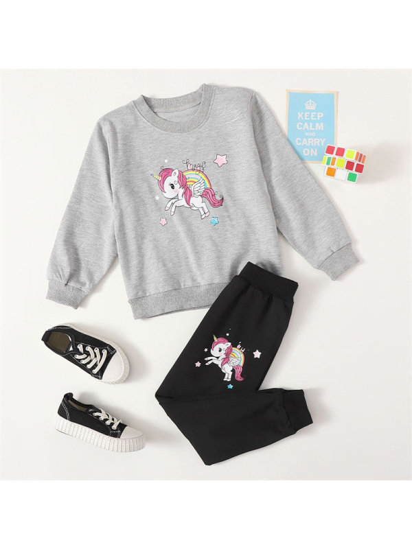【18M-7Y】Girls Cartoon Unicorn Long-sleeved Sweater And Trousers Suit