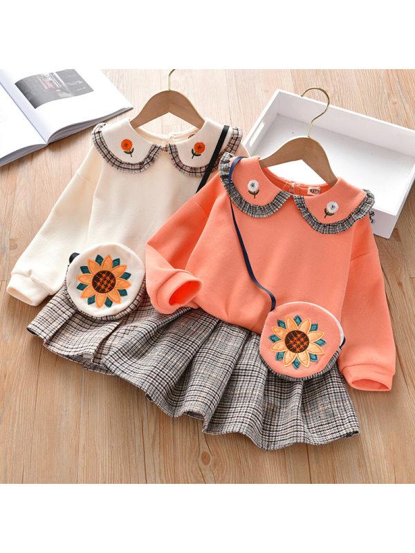 【18M-7Y】Girls Doll Collar Top Plaid Pleated Skirt Set