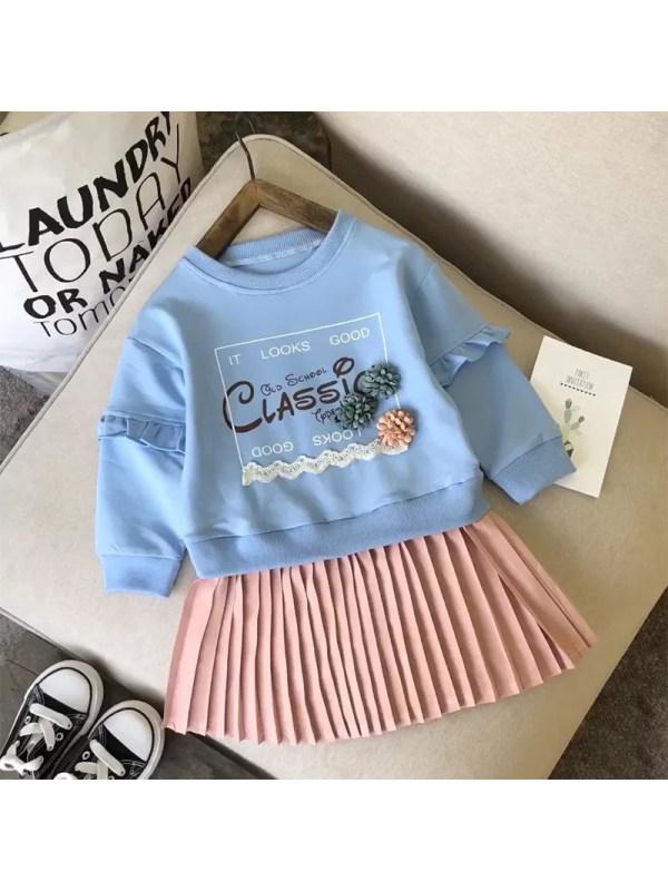 【18M-7Y】Girls Casual Cute Fake Two-piece Sweateshirt Dress