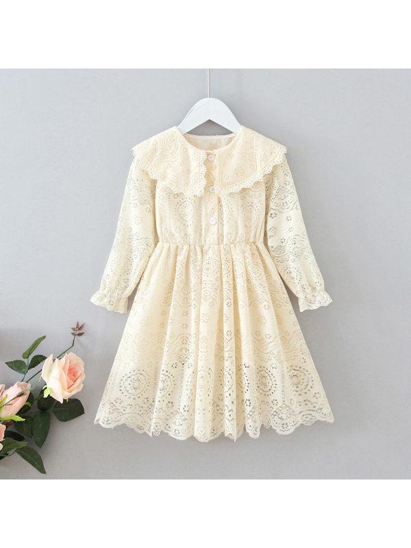 【18M-7Y】Girls Sweet Lace Doll Collar Long Sleeve Dress