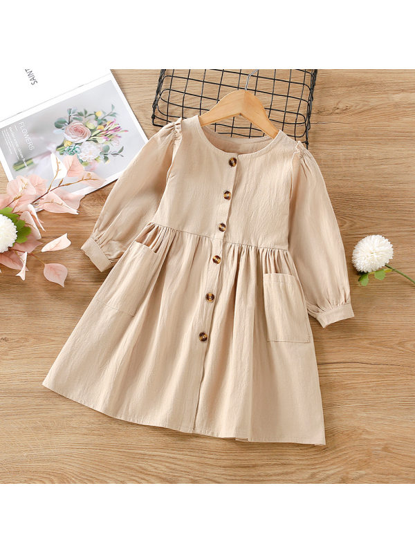 【18M-5Y】Girls Retro Round Neck Single-breasted Long-sleeved Dress