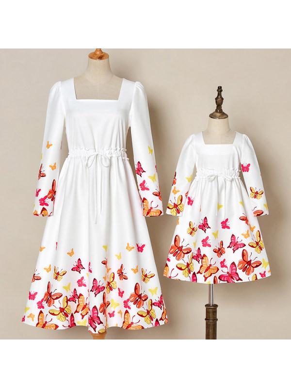 Sweet Butterfly Print Mom Girl Matching Dress