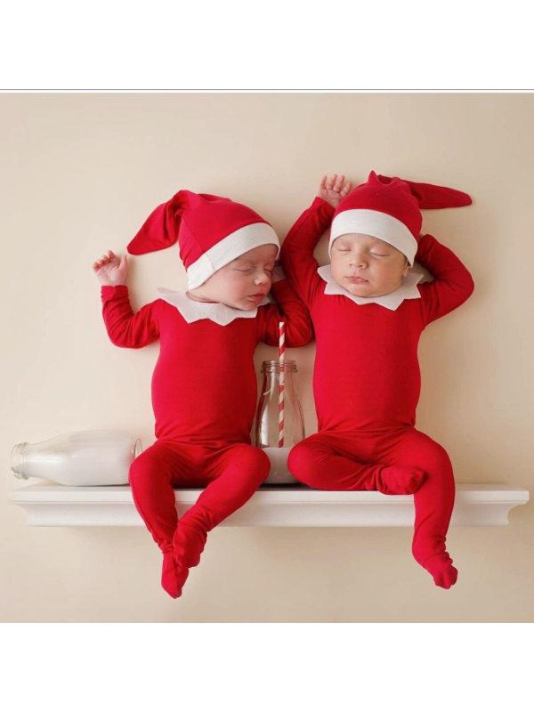 Baby Christmas Three-piece Red Romper Set