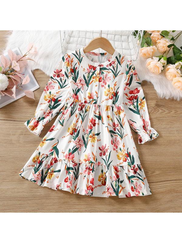 【18M-7Y】Girls Sweet Floral Print Long Sleeve Dress