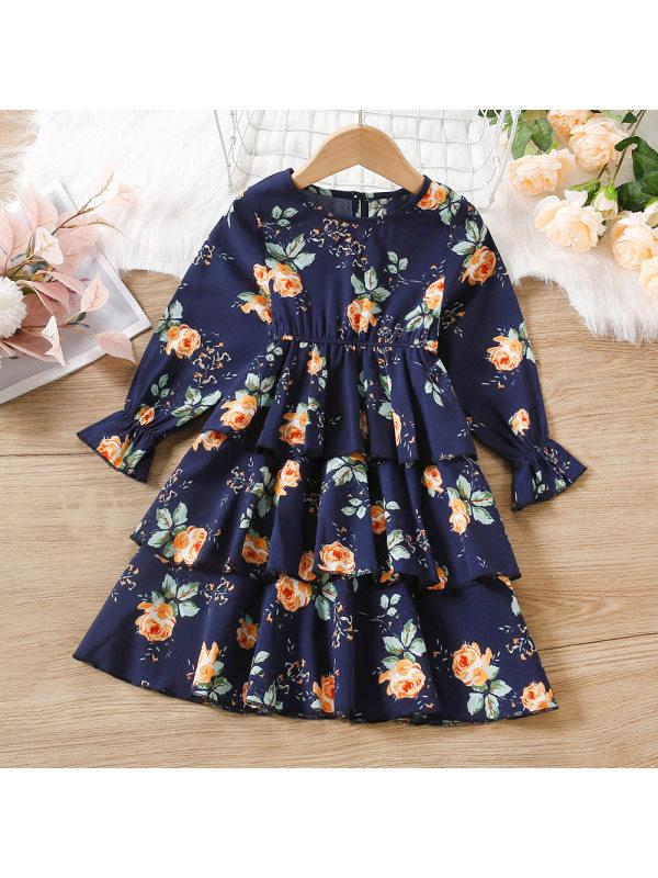 【18M-7Y】Girls Rose Print Multi-layer Long-sleeved Dress