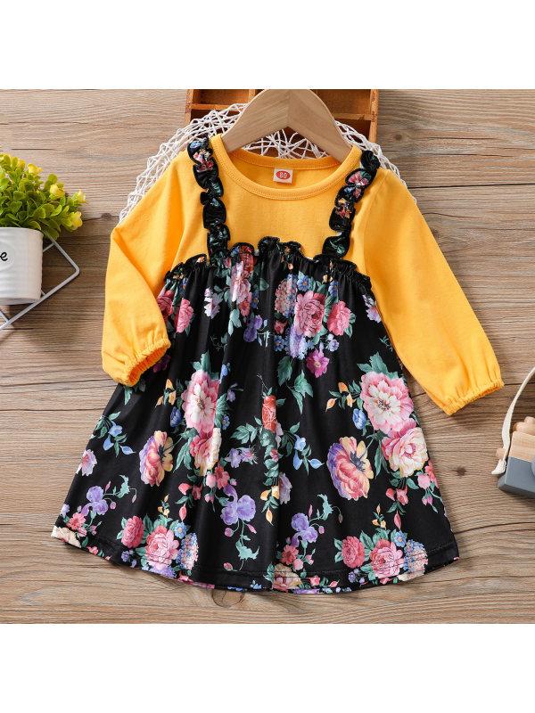 【3M-24M】Baby Sweet Flower Print Fake Two-piece Dress