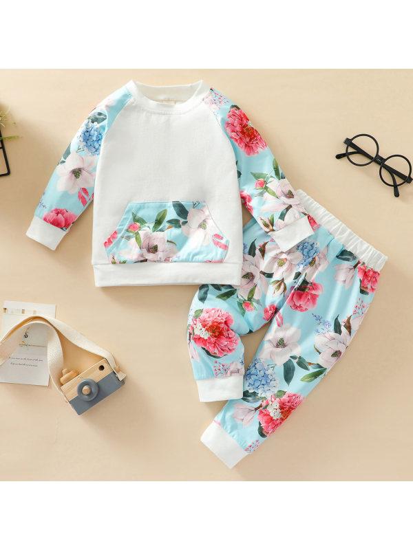 【3M-24M】Baby Sweet Flower Print Set