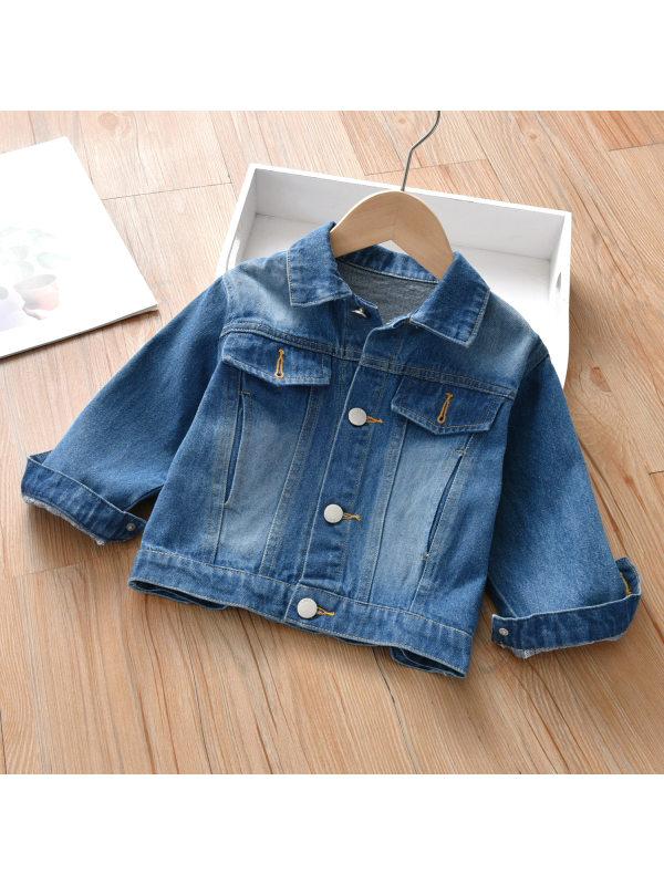 【18M-9Y】Girls Casual Lapel Long Sleeve Denim Jacket