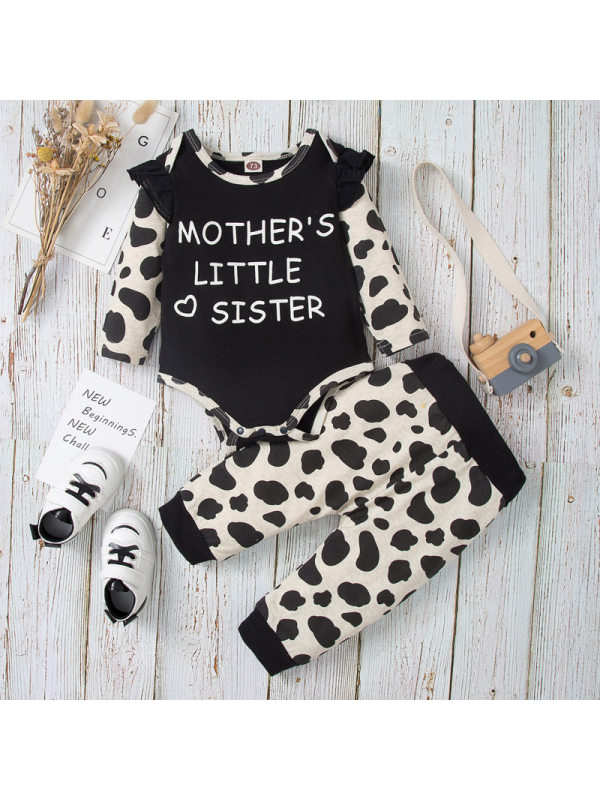 【3-18M】Girls Cute Letters And Leopard Print Romper Set