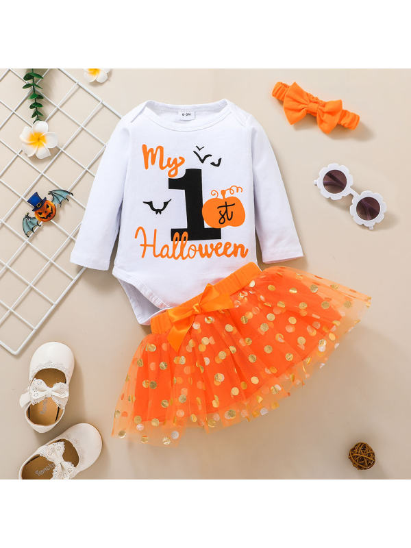【0M-18M】Girls Halloween Cute Polka Dot Set