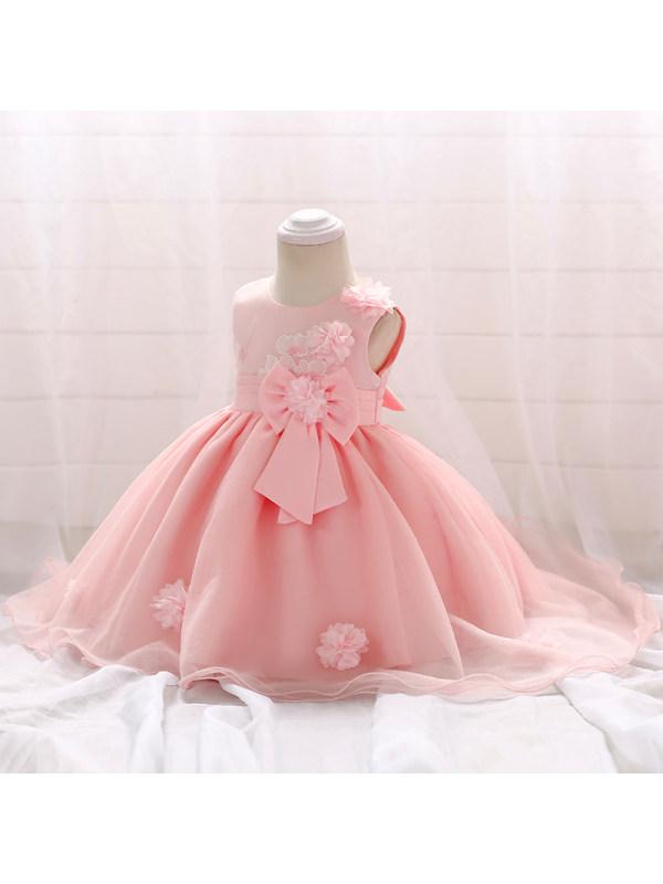 【0M-24M】Baby Embroidered Handmade Three-dimensional Flower Tuxedo Dress