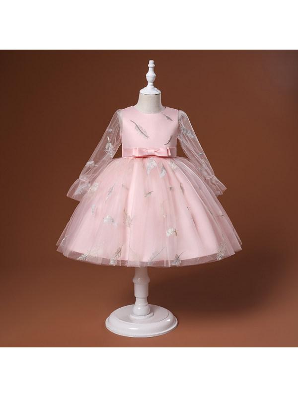 【3Y-9Y】Girls Feather Wedding Embroidery Dress