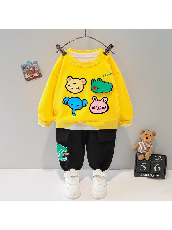 【6M-5Y】Baby Boy Two-piece Cartoon Round Neck Shirt Set