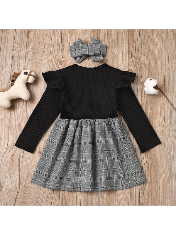【3M-24M】Girl Little Fragrant Style Letter Sleeve Dress With Headband