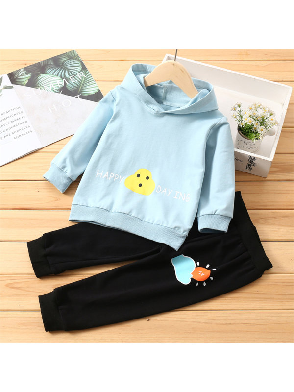 【2Y-7Y】Girls Cartoon Cloud Little Sun Long-sleeved Trousers Set