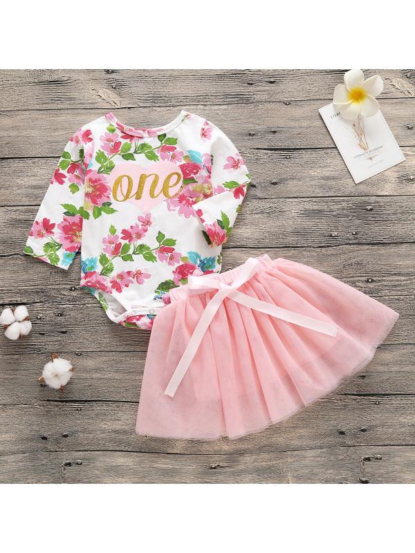 【0M-12M】Baby Girl Alphabet Floral Dress