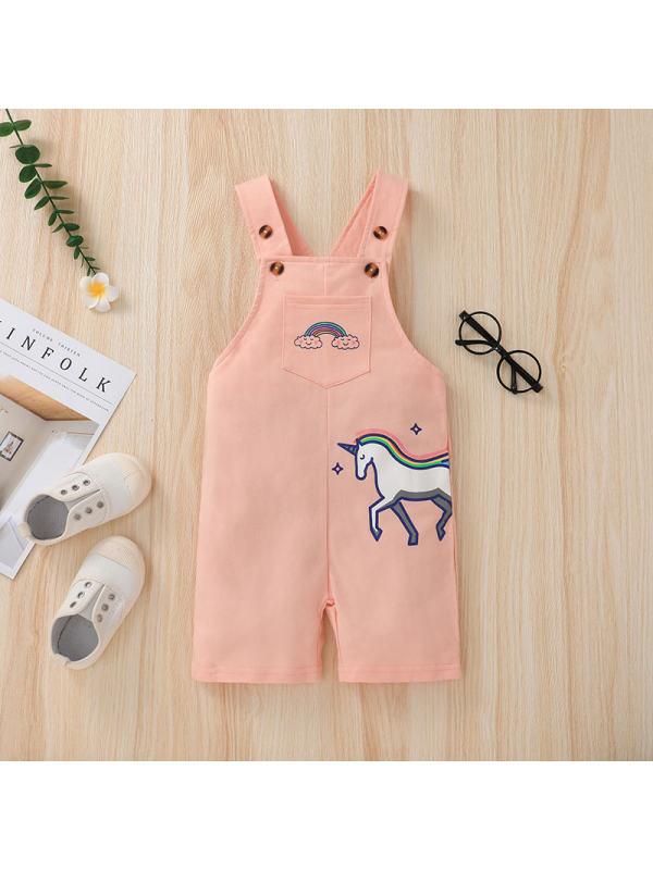 【18M-6Y】Girl Unicorn Sweet Overalls