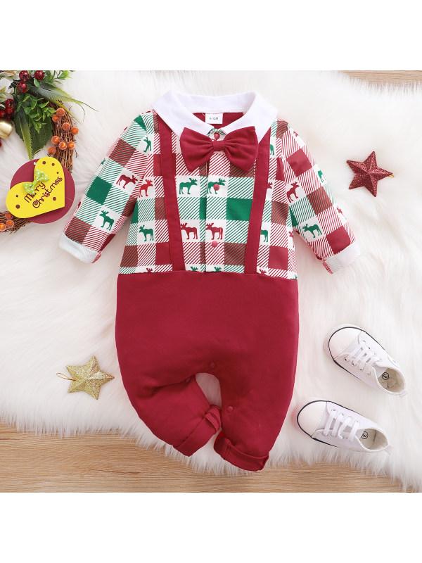 【0M-18M】Baby Cute Plaid Printed Red Romper