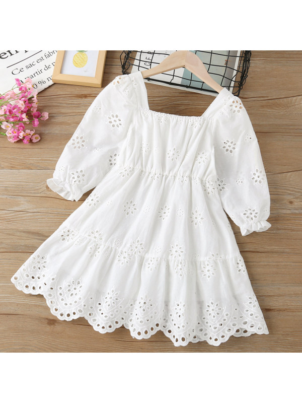 【18M-7Y】Girl Sweet Flower Embroidery White Dress