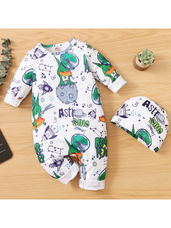 【0M-18M】Baby Cute Cartoon Print Round Neck Long Sleeve Romper With Hat
