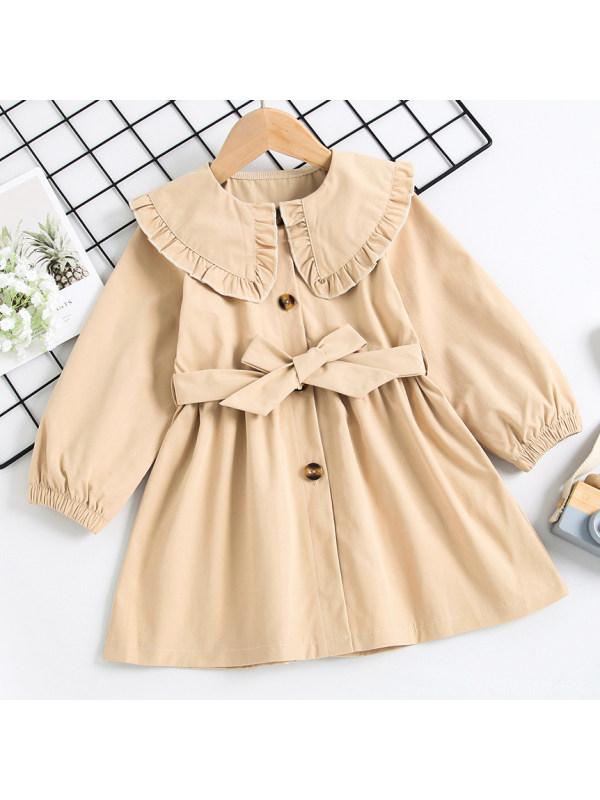 【18M-7Y】Girl Sweet Ruffled Collar Khaki Trench Coat