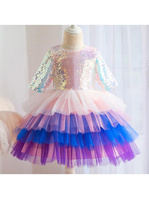 【2Y-9Y】Girls Sweet Sequins Color Mesh Long Sleeved Princess Dress