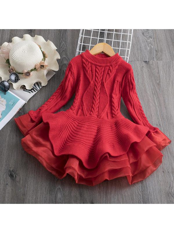【2Y-9Y】Girl Sweet Long Sleeve Sweater Dress
