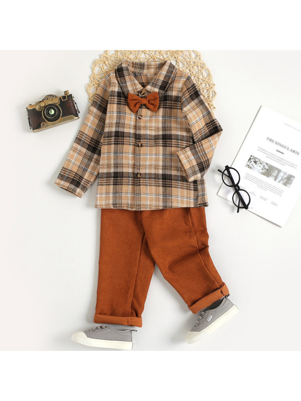 【18M-7Y】Boys Casual Brown Plaid Shirt And Pure Color Pants Set