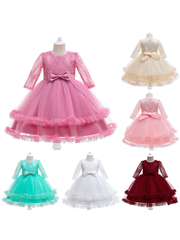 【3Y-11Y】Girl Sweet Embroidered Lace Mesh Princess Dress