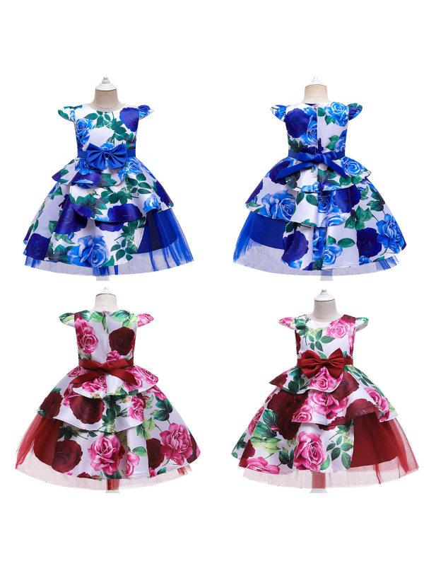 【3Y-11Y】 Girl Sweet Flower Print Princess Dress