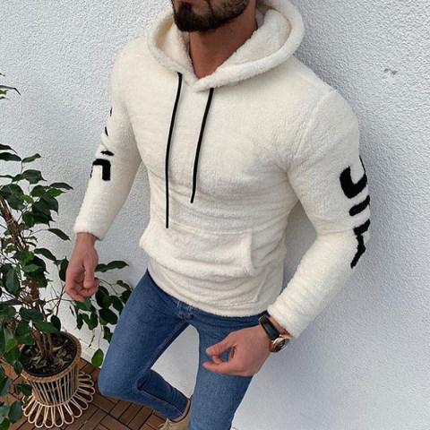 Fashion Plush Hooded Long Sleeve Slim Sweatshirt