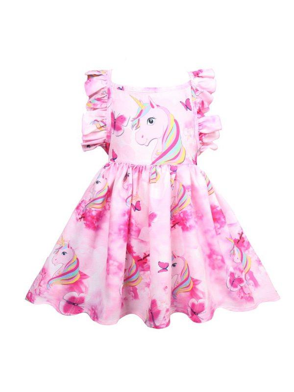 【2Y-9Y】Cartoon Unicorn Print Sleeveless Backless Dress