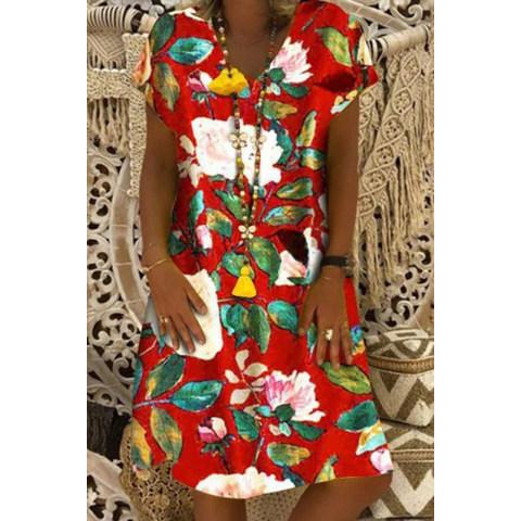 Image of V Neck Women Dresses Shift Floral Summer Dresses