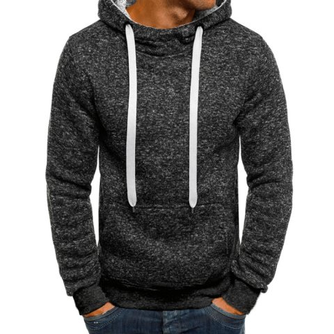 MenS Fleece Hooded Pullover Sweater