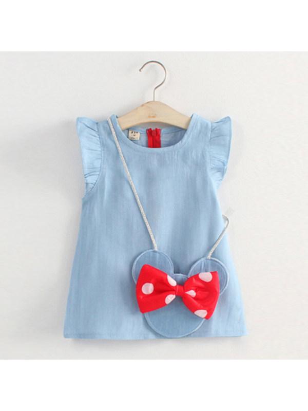 【12M-4Y】Girl Fly Sleeve Denim Dress With Minnie Bag