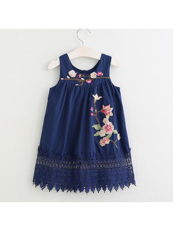 【18M-7Y】Flower  Embroidered  Sleeveless Zipper Back Dress