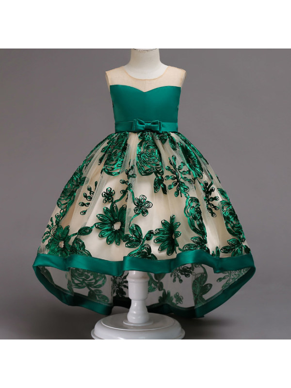 【18M-9Y】Stereoscopic  Flower Embroidered Self Tie Bowknot Self Tie Princess Dress