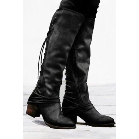Image of Plain Round Toe Casual Outdoor Knee High High Heels Boots