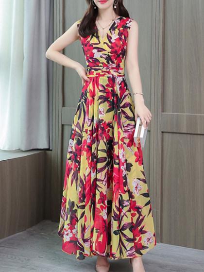 V Neck Sleeveless Chiffon Print Maxi Dress