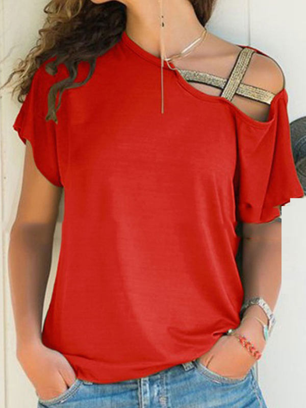 4b518ddbdf251 Summer Cotton Women Open Shoulder Plain Short Sleeve T-Shirts - Selaros.com